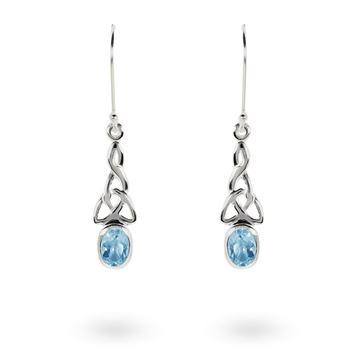 Picture of Blue Topaz Celtic Drop Earrings in Sterling Silver
