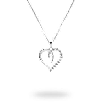 Picture of Half Plain/Half CZ Sterling Silver Open Heart Pendant