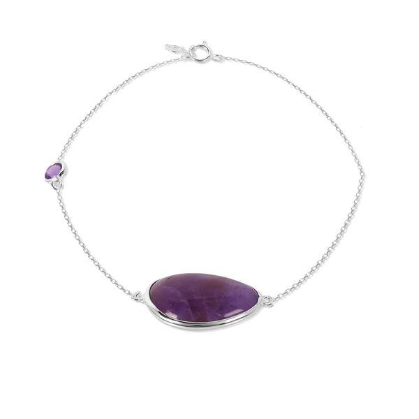 Picture of Teardrop Amethyst on Chain Sterling Silver Bracelet