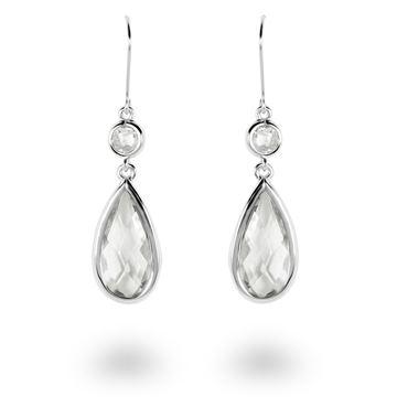 Picture of Teardrop & Round CZ Sterling Silver Drop Earrings