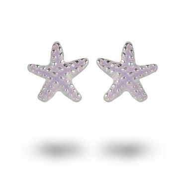 Picture of Purple Enamel Starfish Sterling Silver Stud Earrings