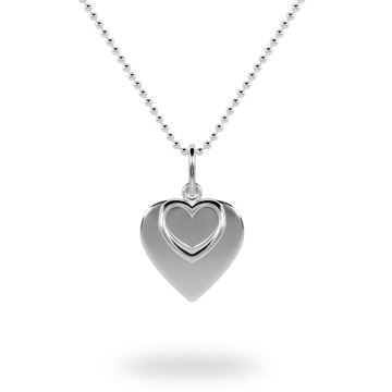 Picture of Plain and Outline Hearts Sterling Silver Necklace - 42cm Chain