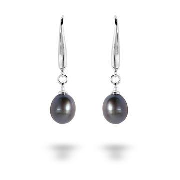 Picture of Teardrop Black FW Pearl Sterling Silver Drop Earrings