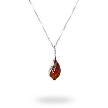 Picture of Cognac Amber Leaf-Framed Teardrop Sterling Silver Pendant