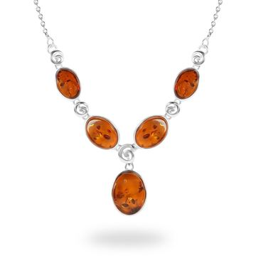 Picture of Sterling Silver Cognac Amber Ovals With Swirl Sterling Silver Necklace