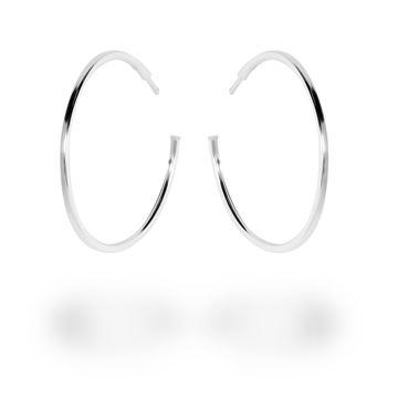 Picture of Sterling Silver 35mm Plain Hoop Stud Earrings