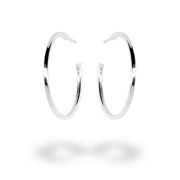 Picture of Sterling Silver 28mm Plain Hoop Stud Earrings