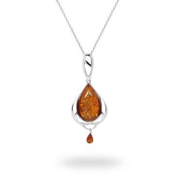Picture of Sterling Silver Cognac Amber Petal-Framed Teardrop Pendant